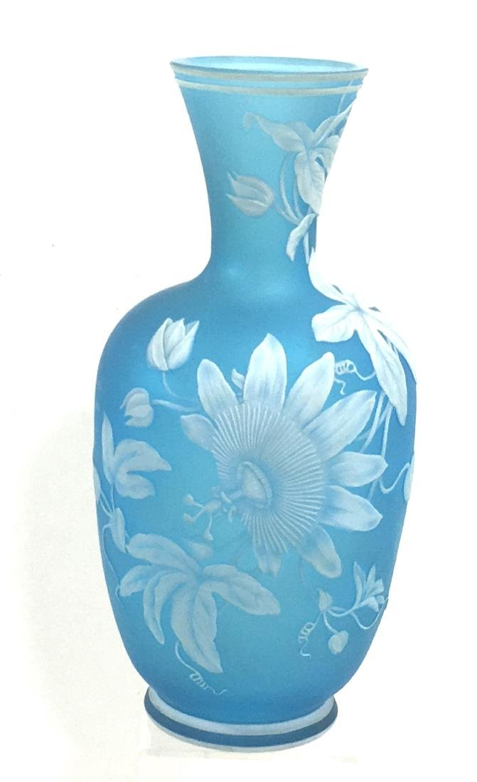 Webb Blue cameo glass vase,