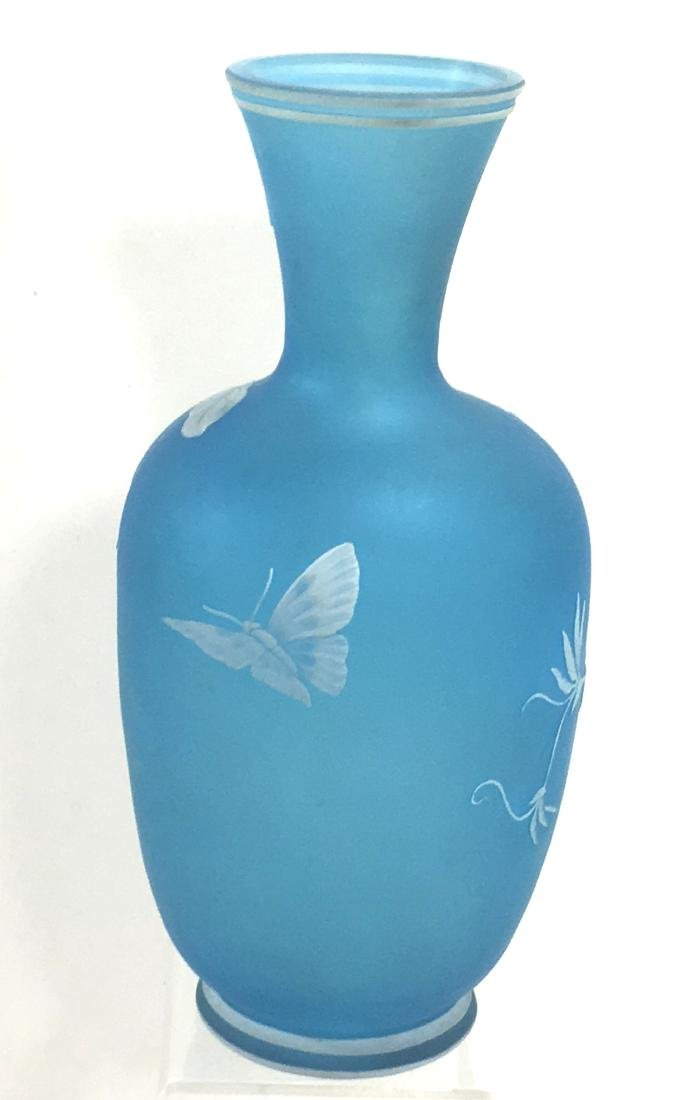 Webb Blue cameo glass vase, - 2