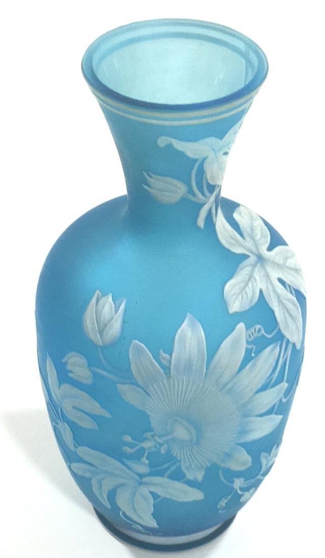 Webb Blue cameo glass vase, - 3