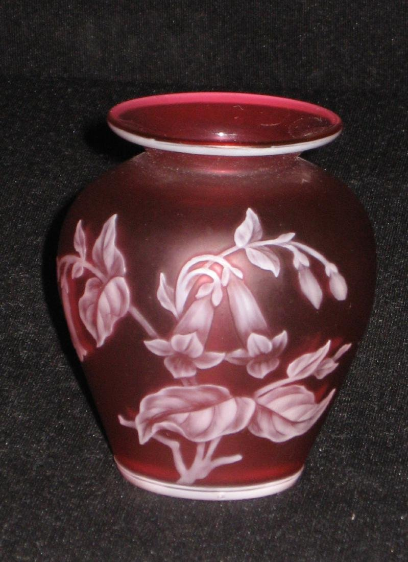 Red English cameo glass vase,