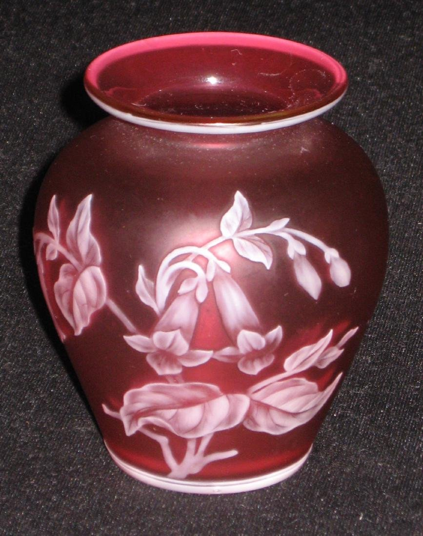 Red English cameo glass vase, - 2