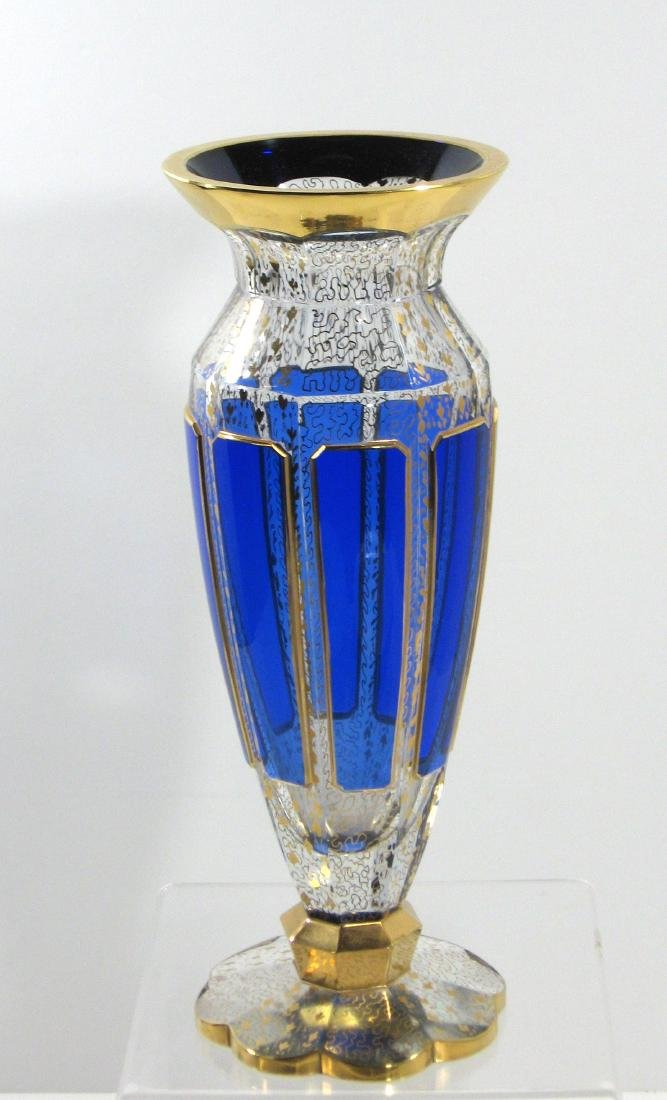 Moser blue panel glass vase,