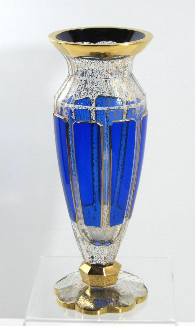Moser blue panel glass vase, - 2
