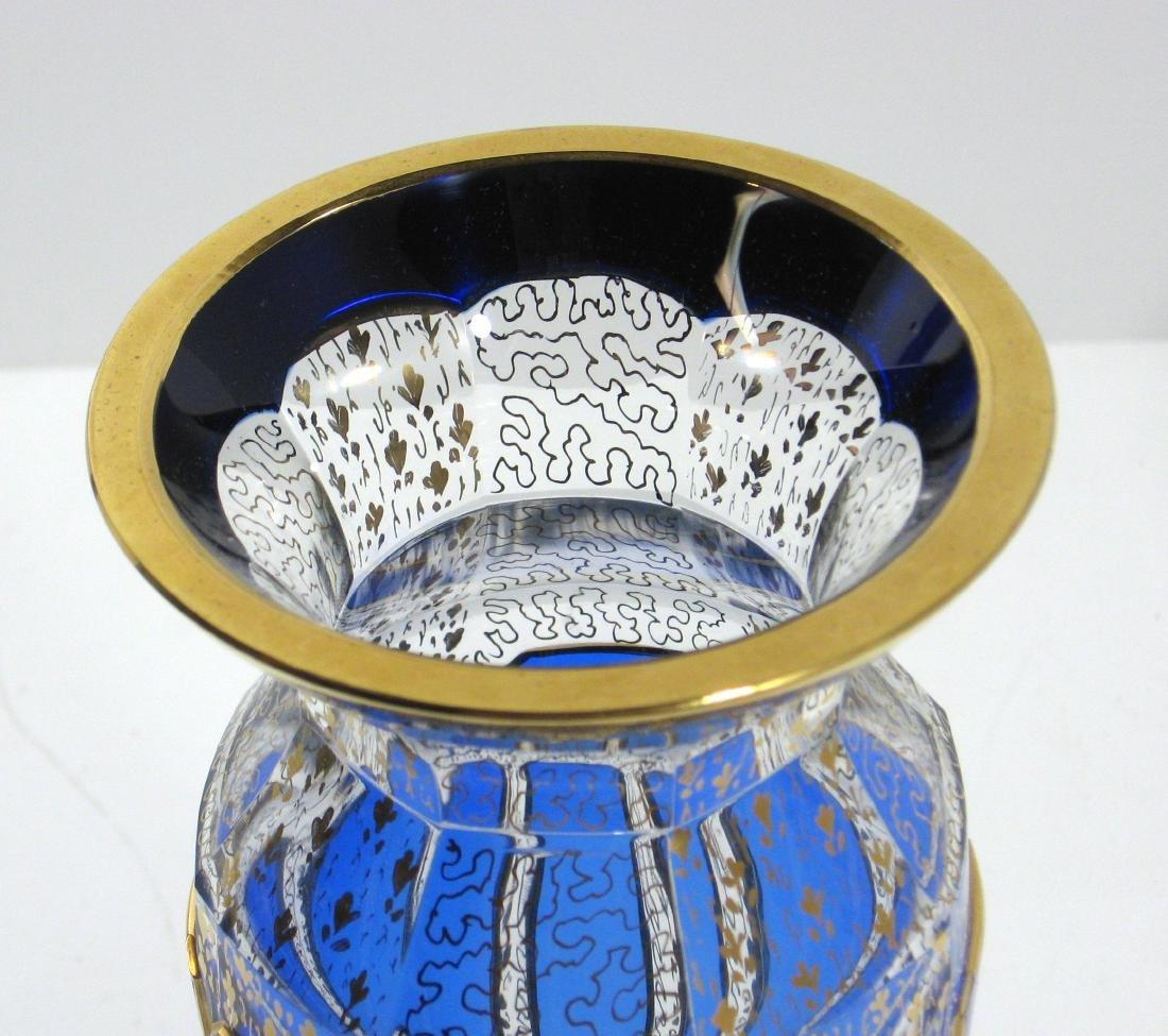 Moser blue panel glass vase, - 3