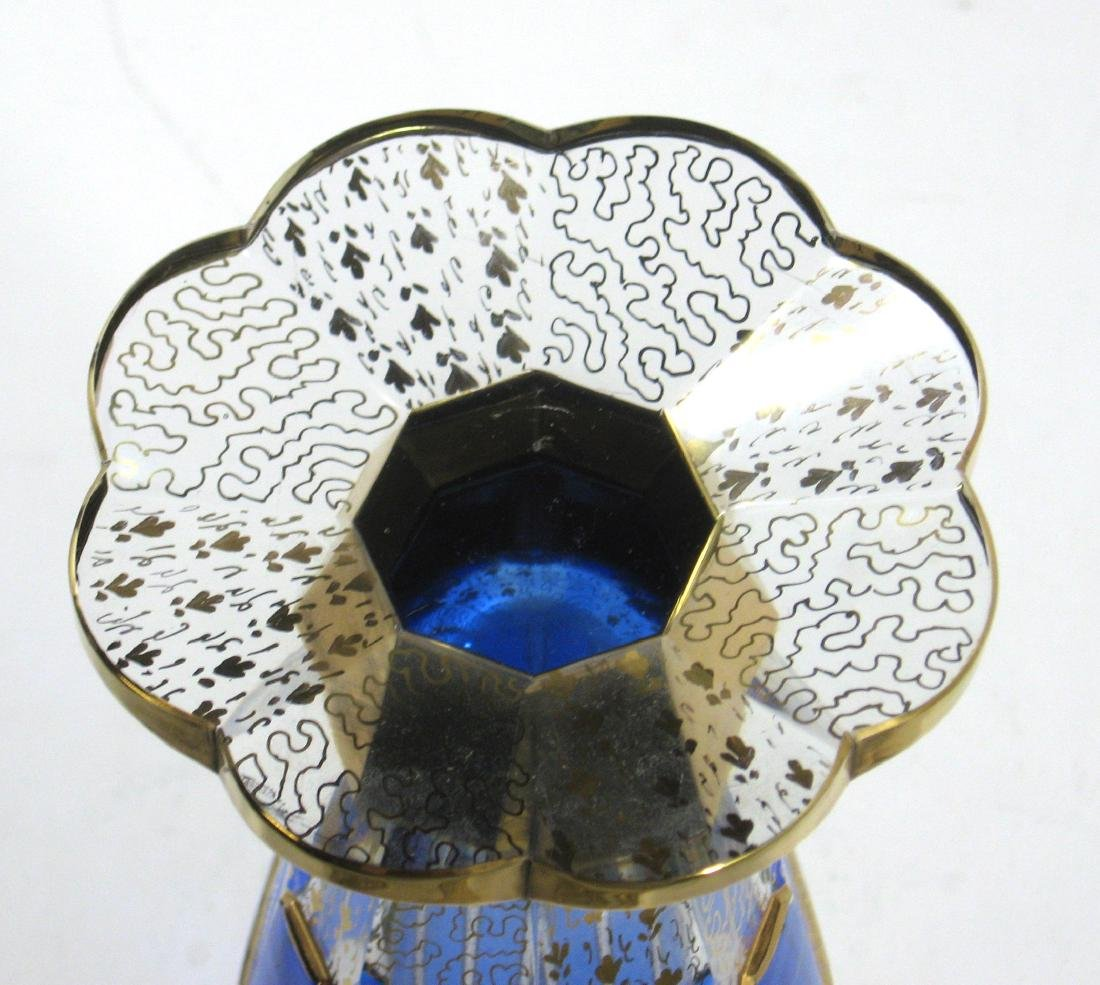 Moser blue panel glass vase, - 4