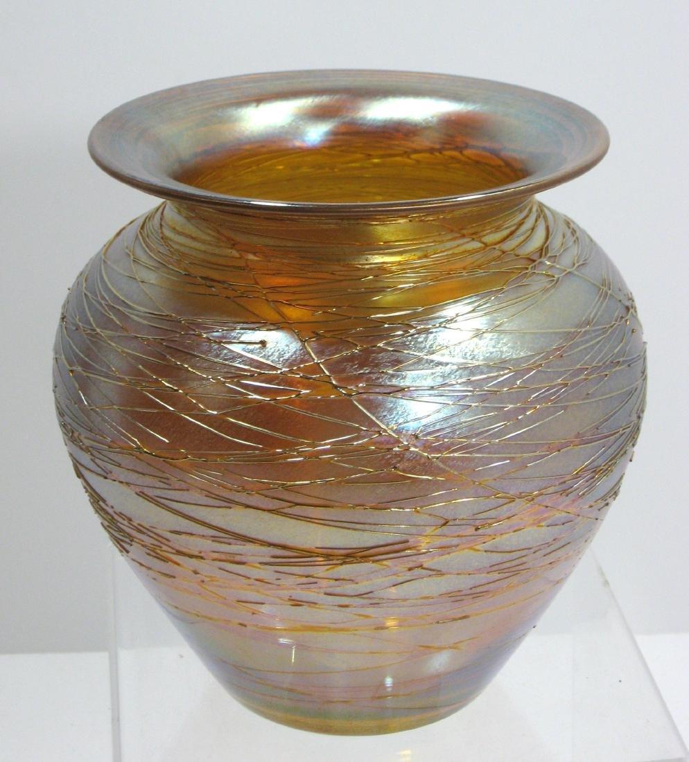 Durand iridescent gold threaded vase,