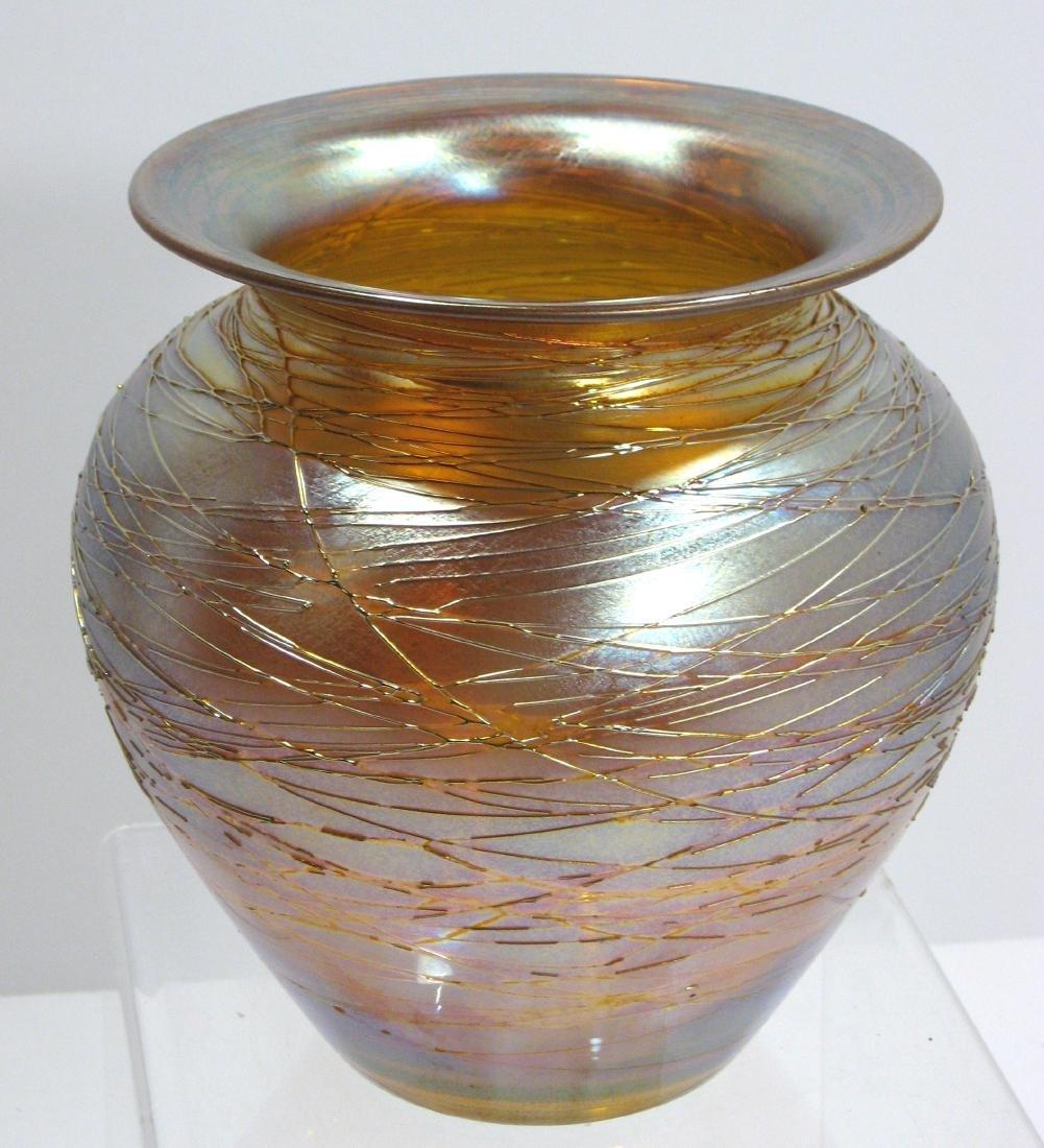 Durand iridescent gold threaded vase, - 2