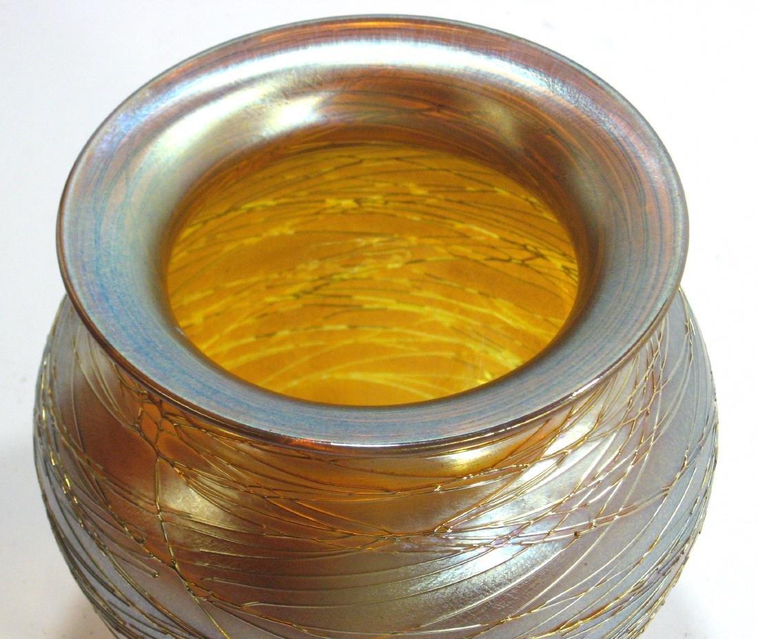 Durand iridescent gold threaded vase, - 3