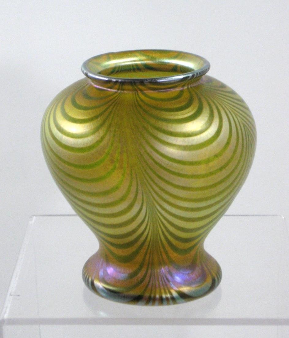Quezal decorated glass vase