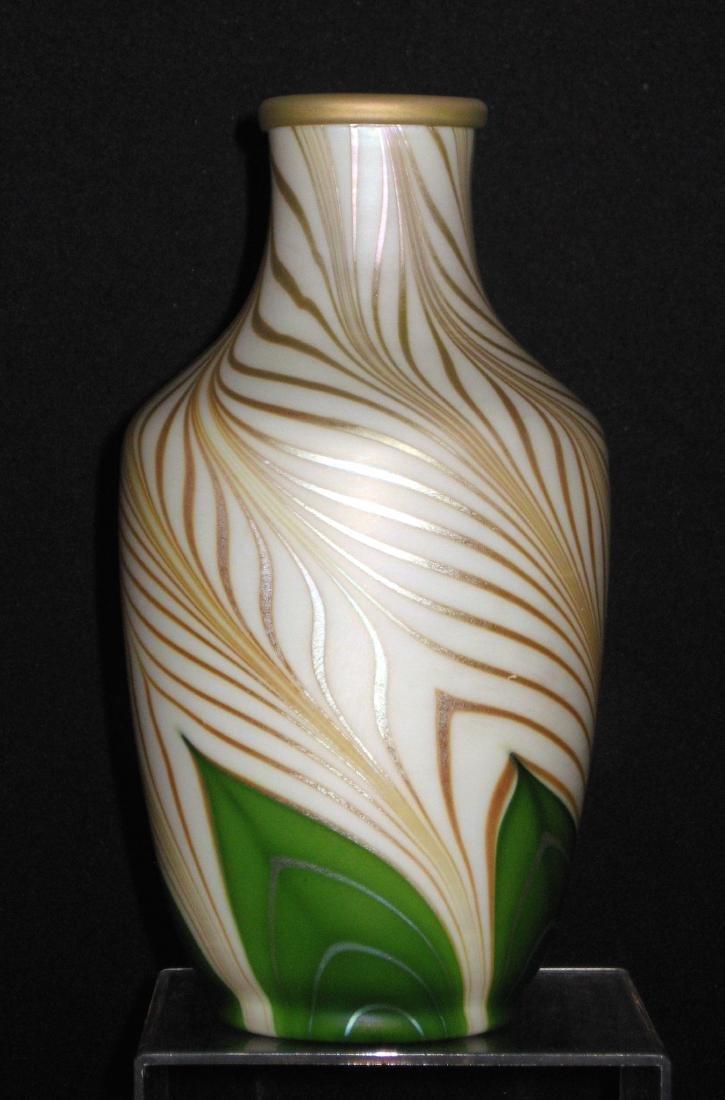 Steuben green Aurene glass vase