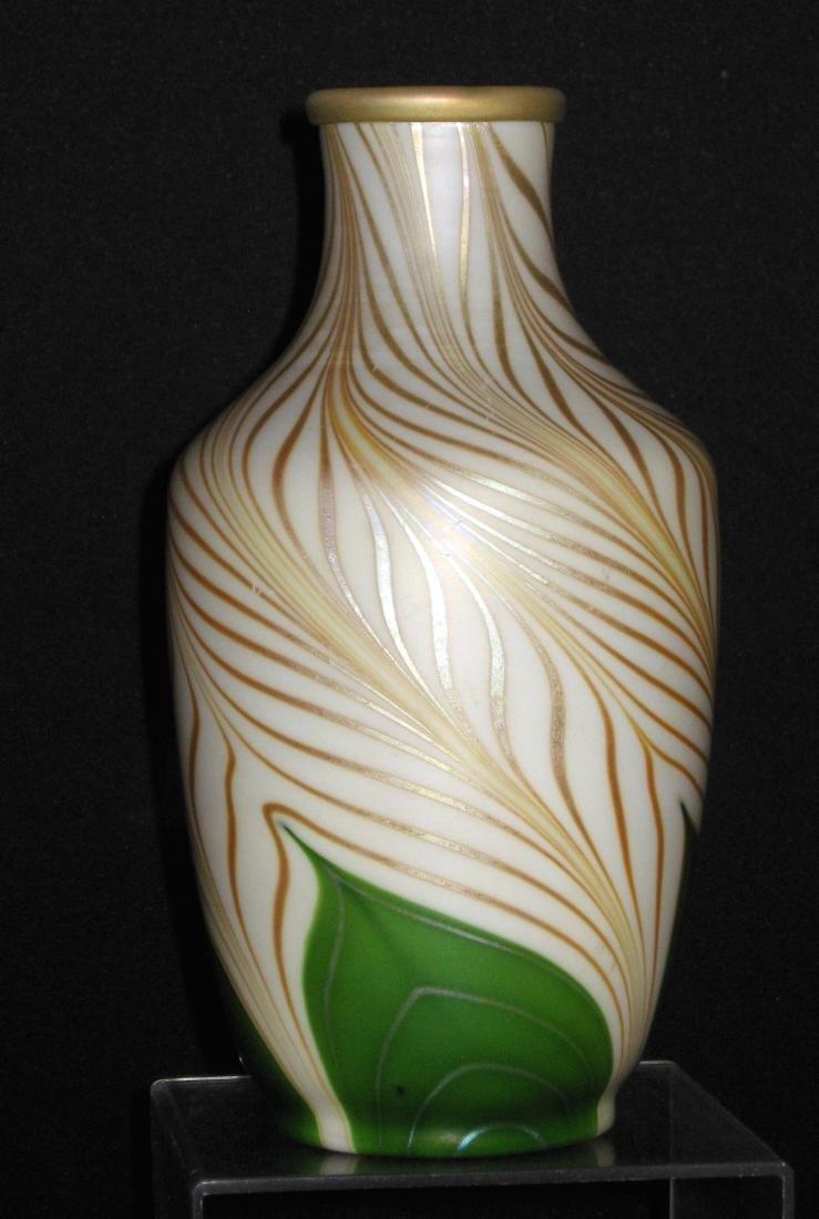 Steuben green Aurene glass vase - 2