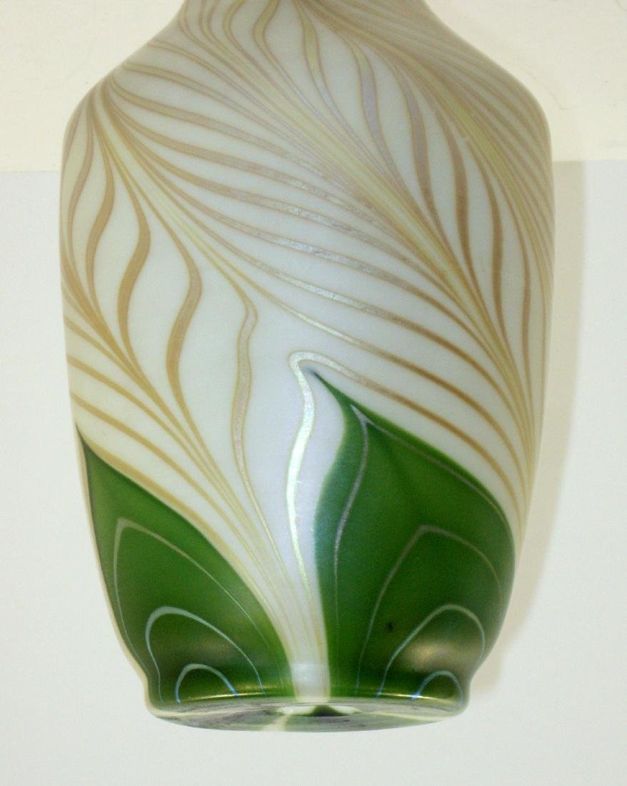 Steuben green Aurene glass vase - 3