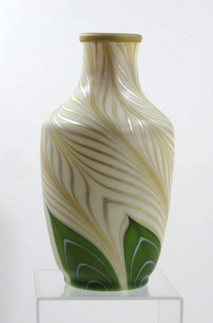 Steuben green Aurene glass vase - 5