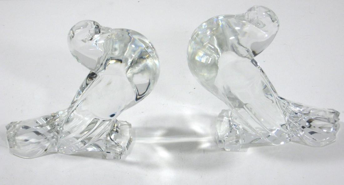 Pair of Steuben glass pigeons,