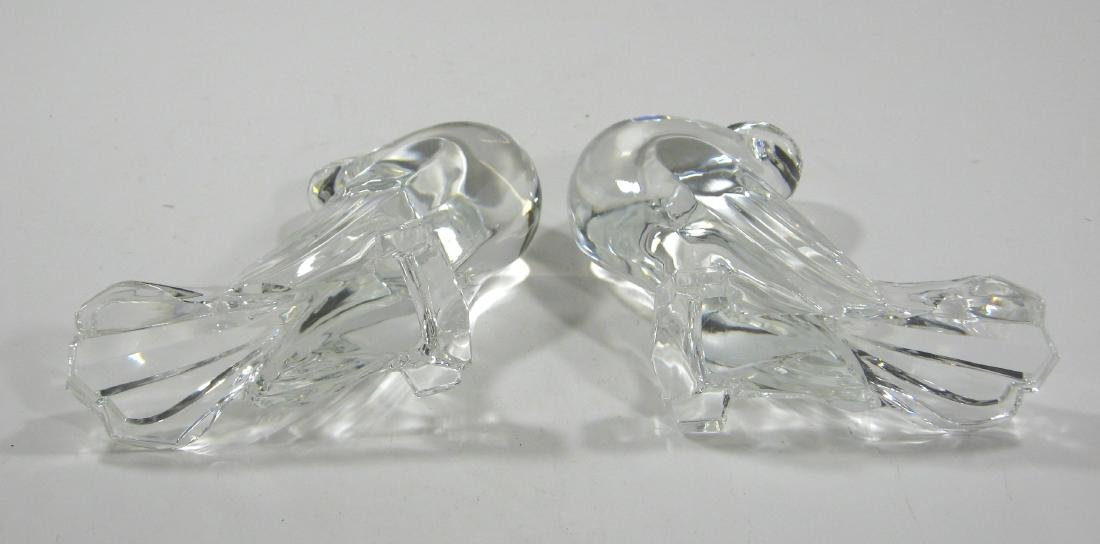 Pair of Steuben glass pigeons, - 4