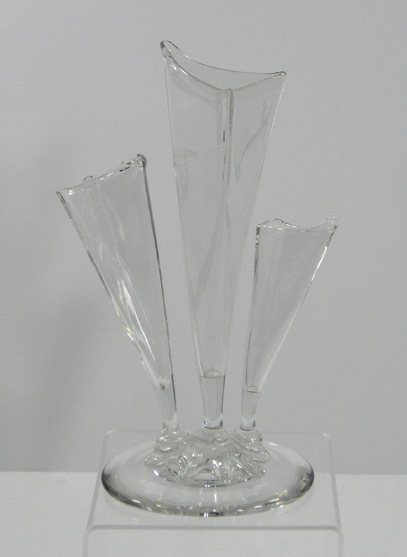 Steuben clear three prong deco vase - 2