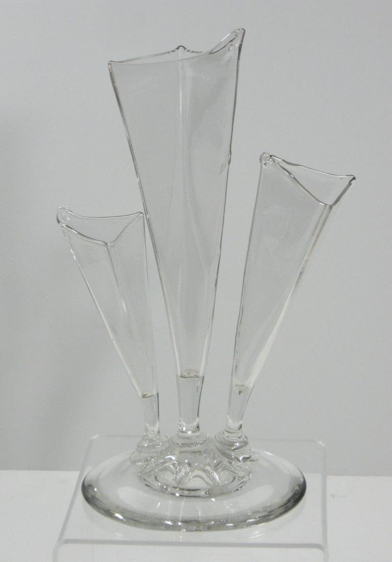 Steuben clear three prong deco vase - 3