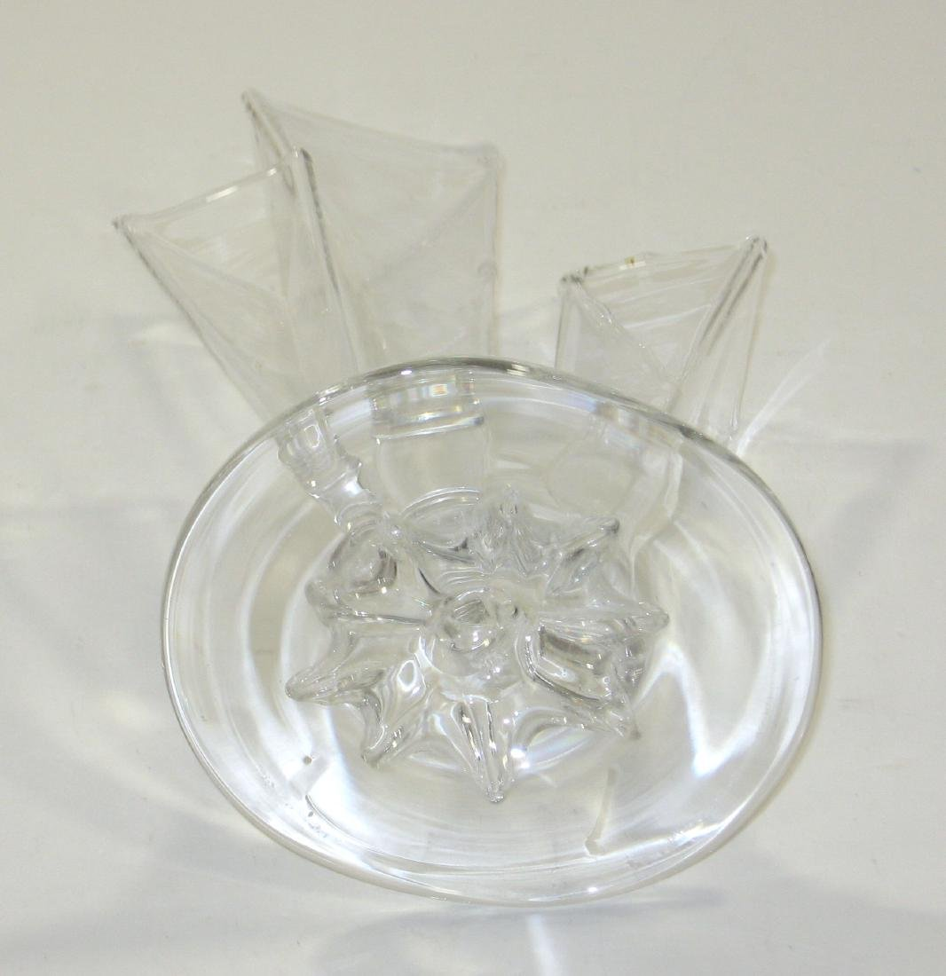 Steuben clear three prong deco vase - 4