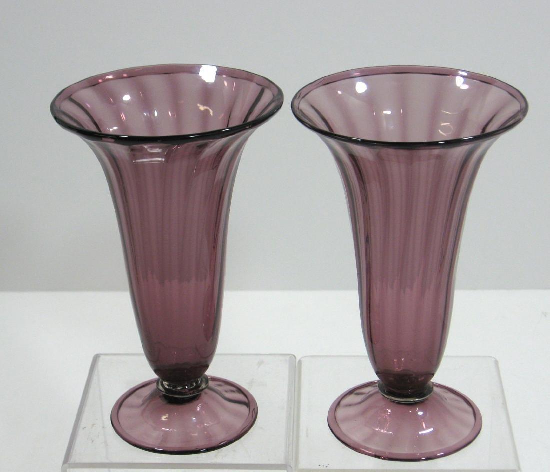 Two Steuben amethyst trumpet vases