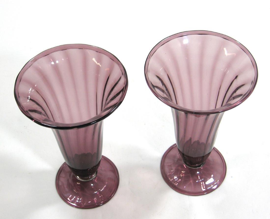 Two Steuben amethyst trumpet vases - 2