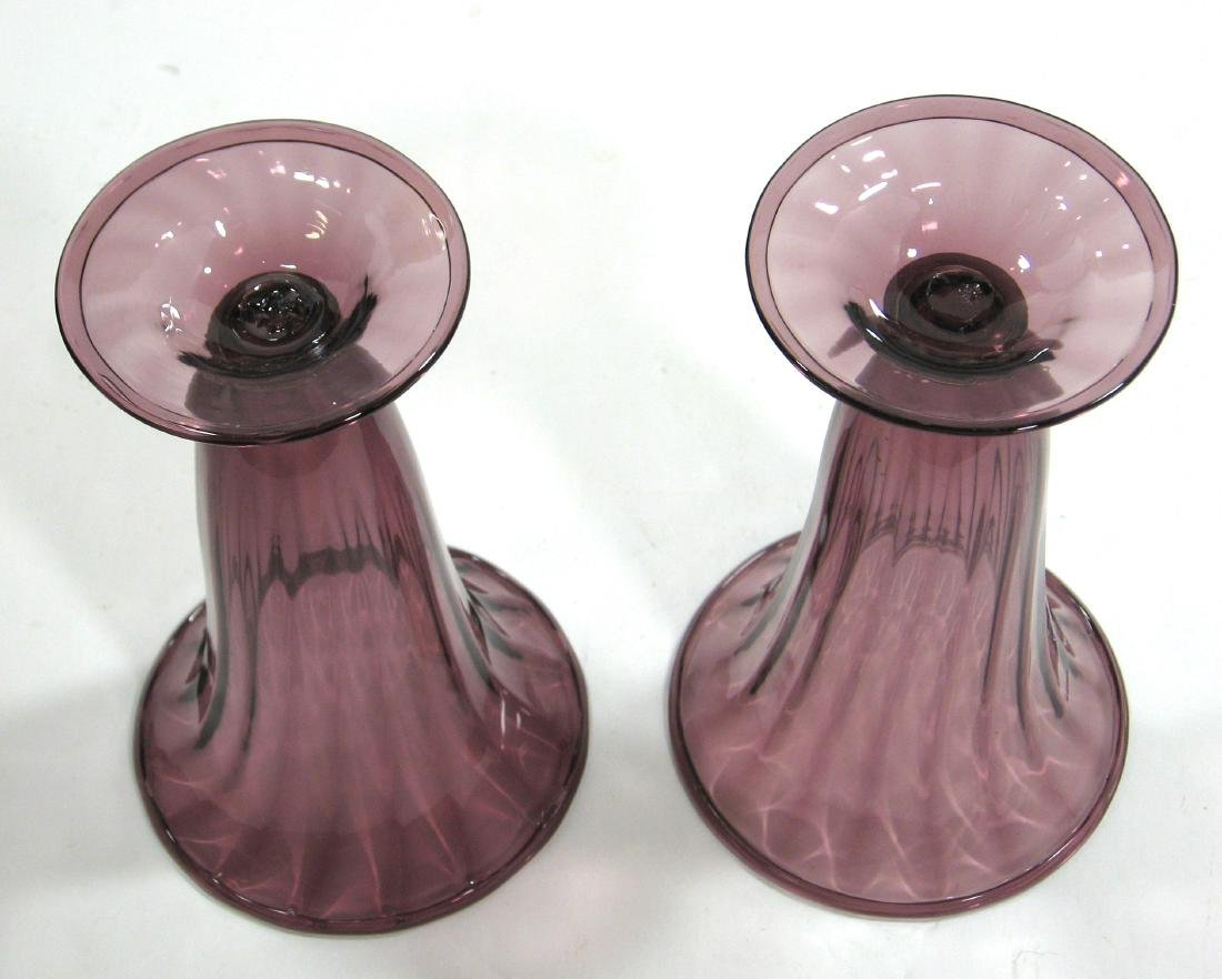 Two Steuben amethyst trumpet vases - 3