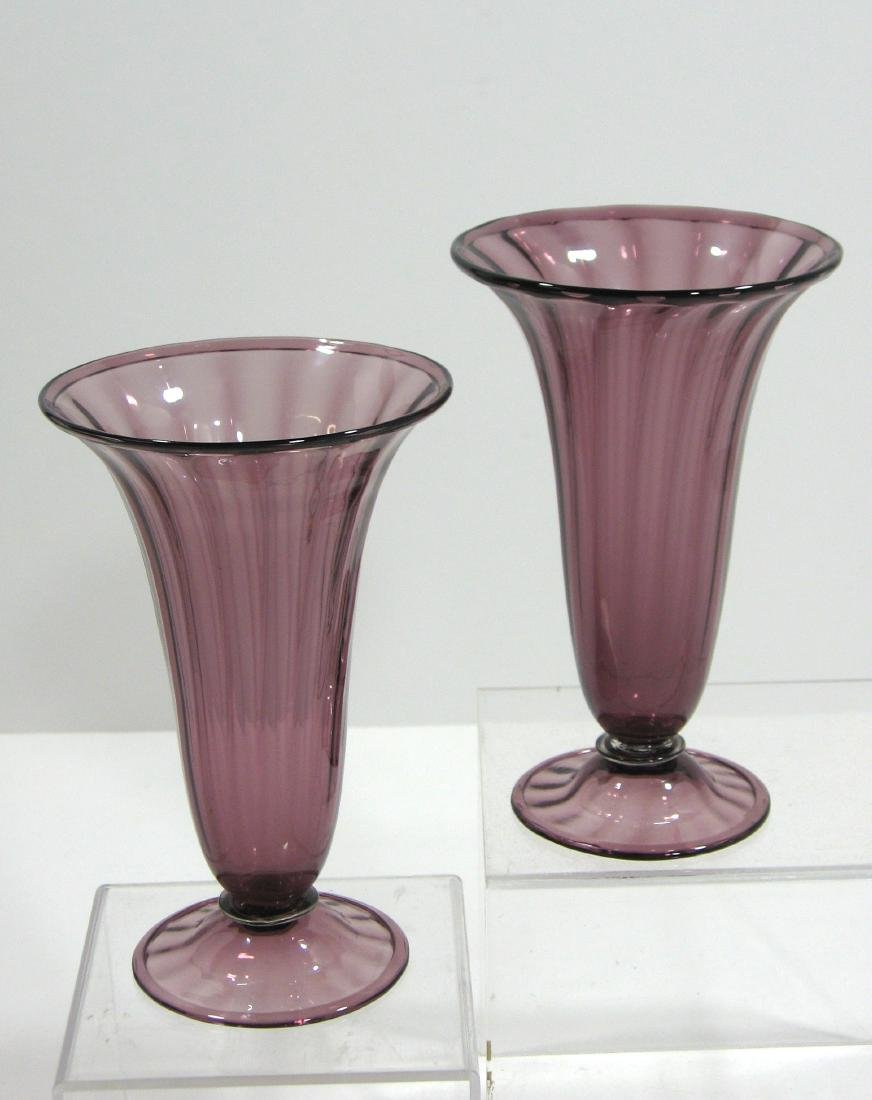 Two Steuben amethyst trumpet vases - 4
