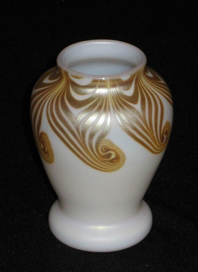 Steuben decorated Aurene vase,