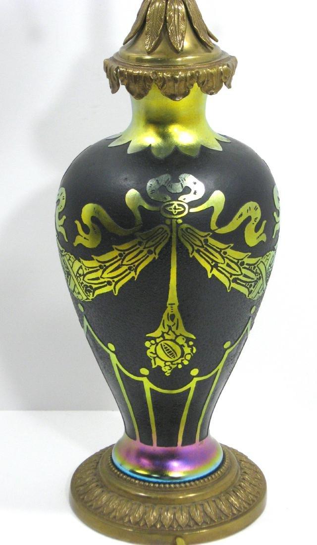 Steuben gold on black ACB lamp,