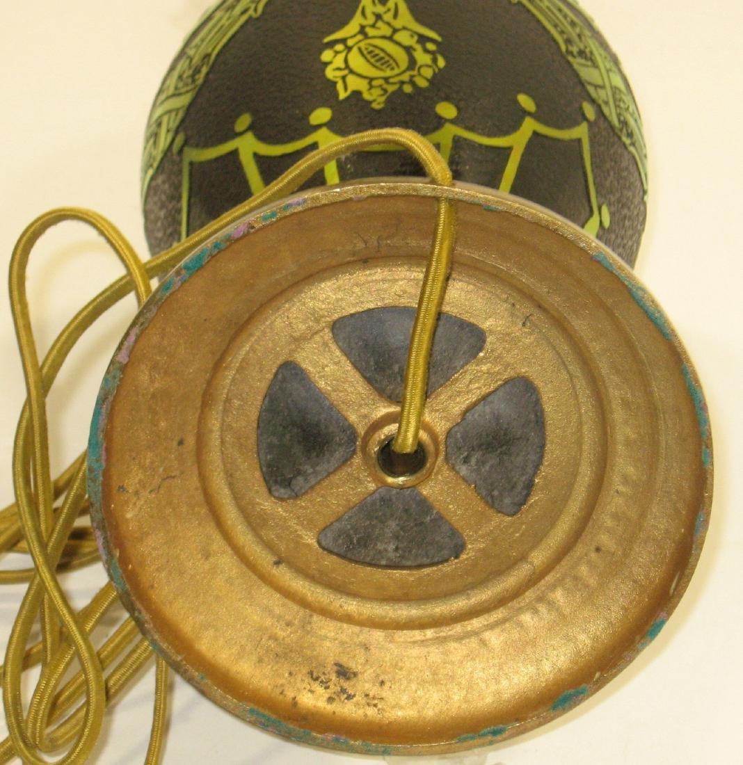 Steuben gold on black ACB lamp, - 5