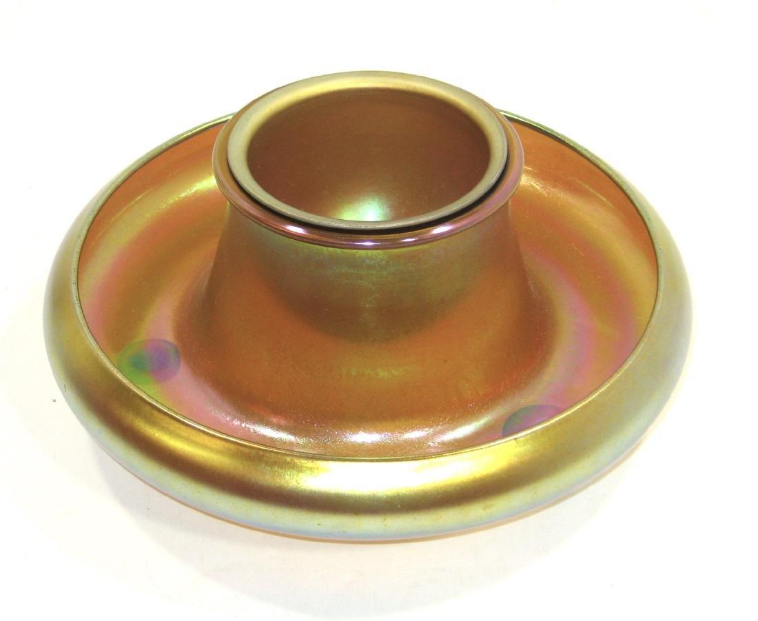 Steuben Gold Aurene shrimp bowl