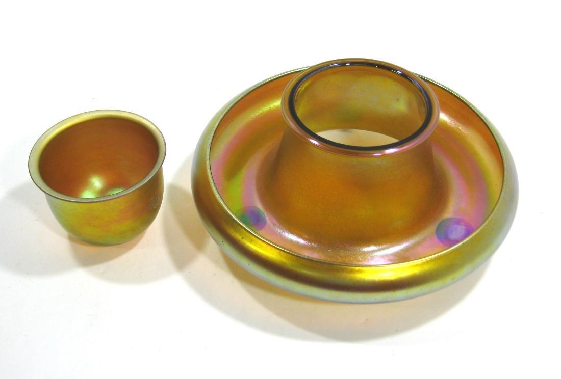 Steuben Gold Aurene shrimp bowl - 2