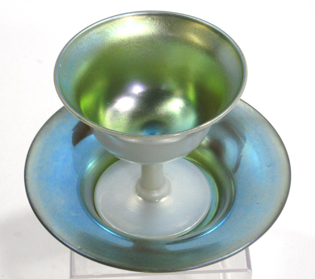 Steuben Blue on Calcite sherbet - 2