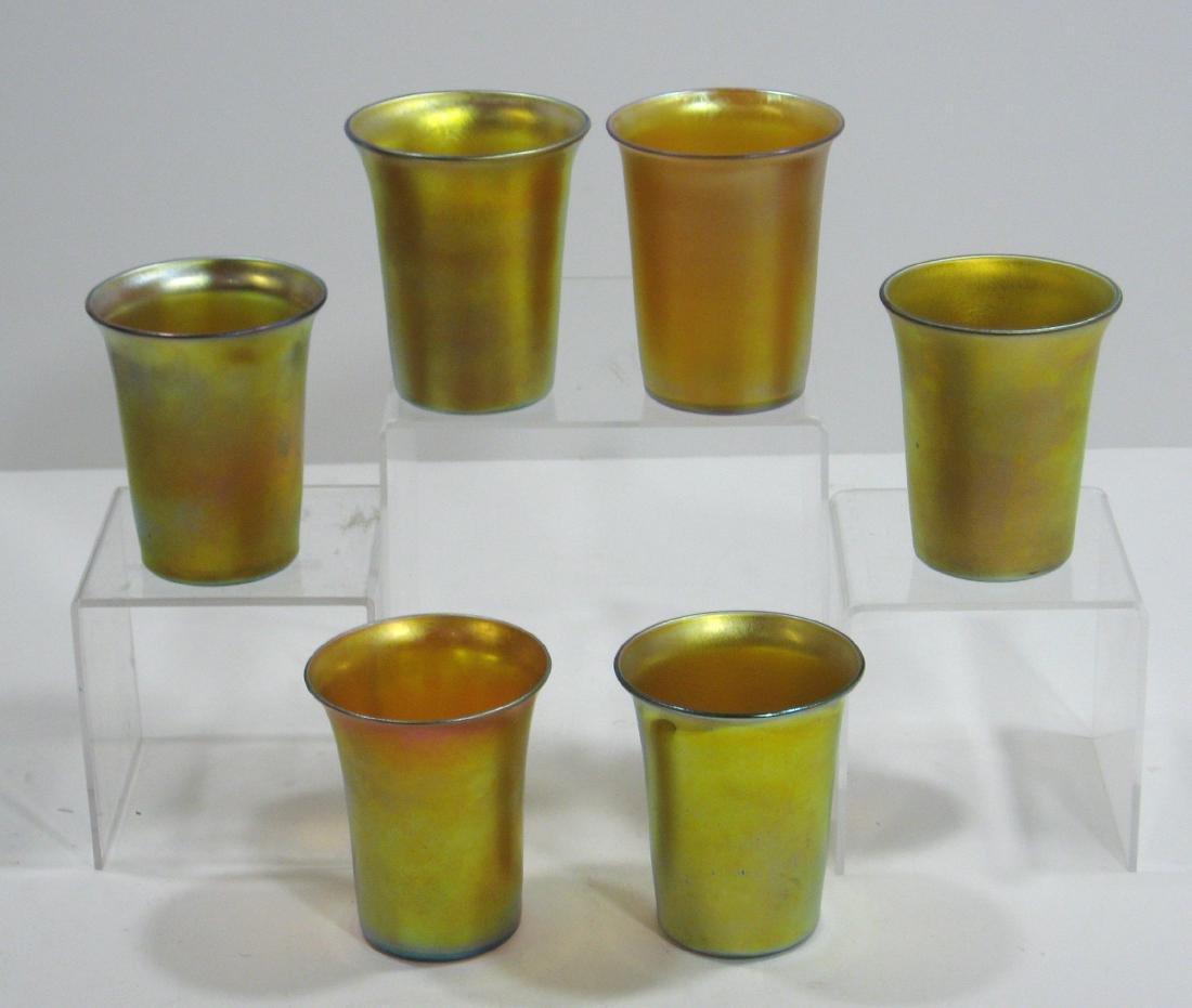 Six Steuben gold Aurene tumblers