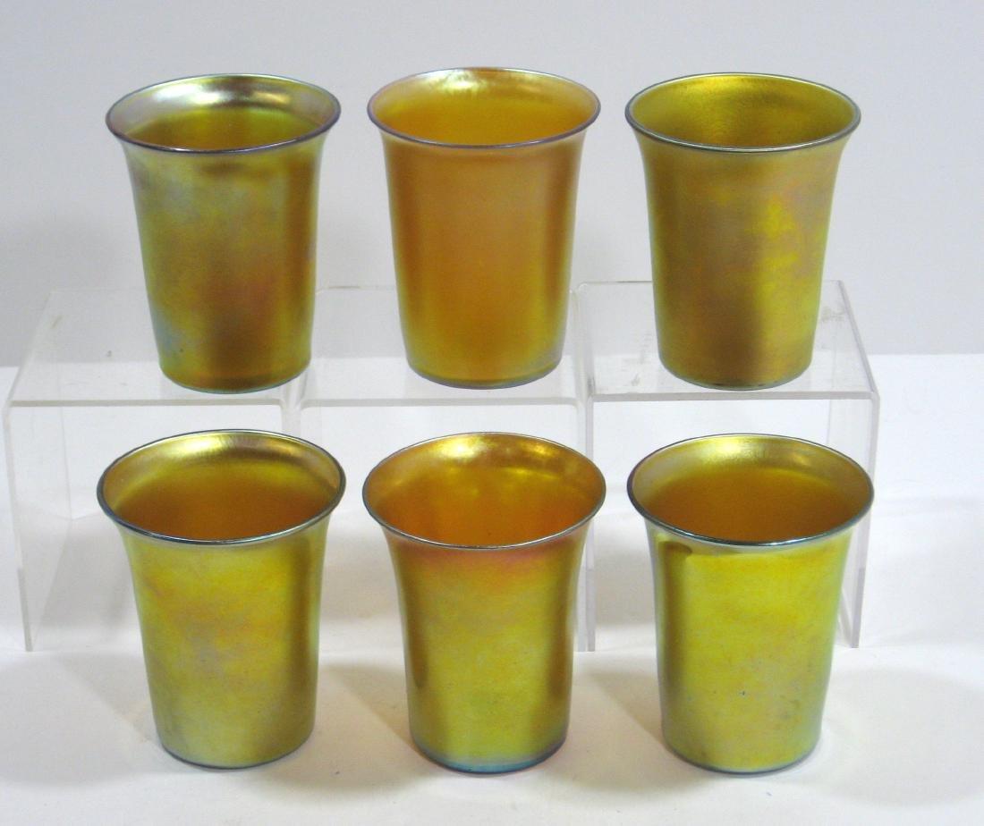 Six Steuben gold Aurene tumblers - 2