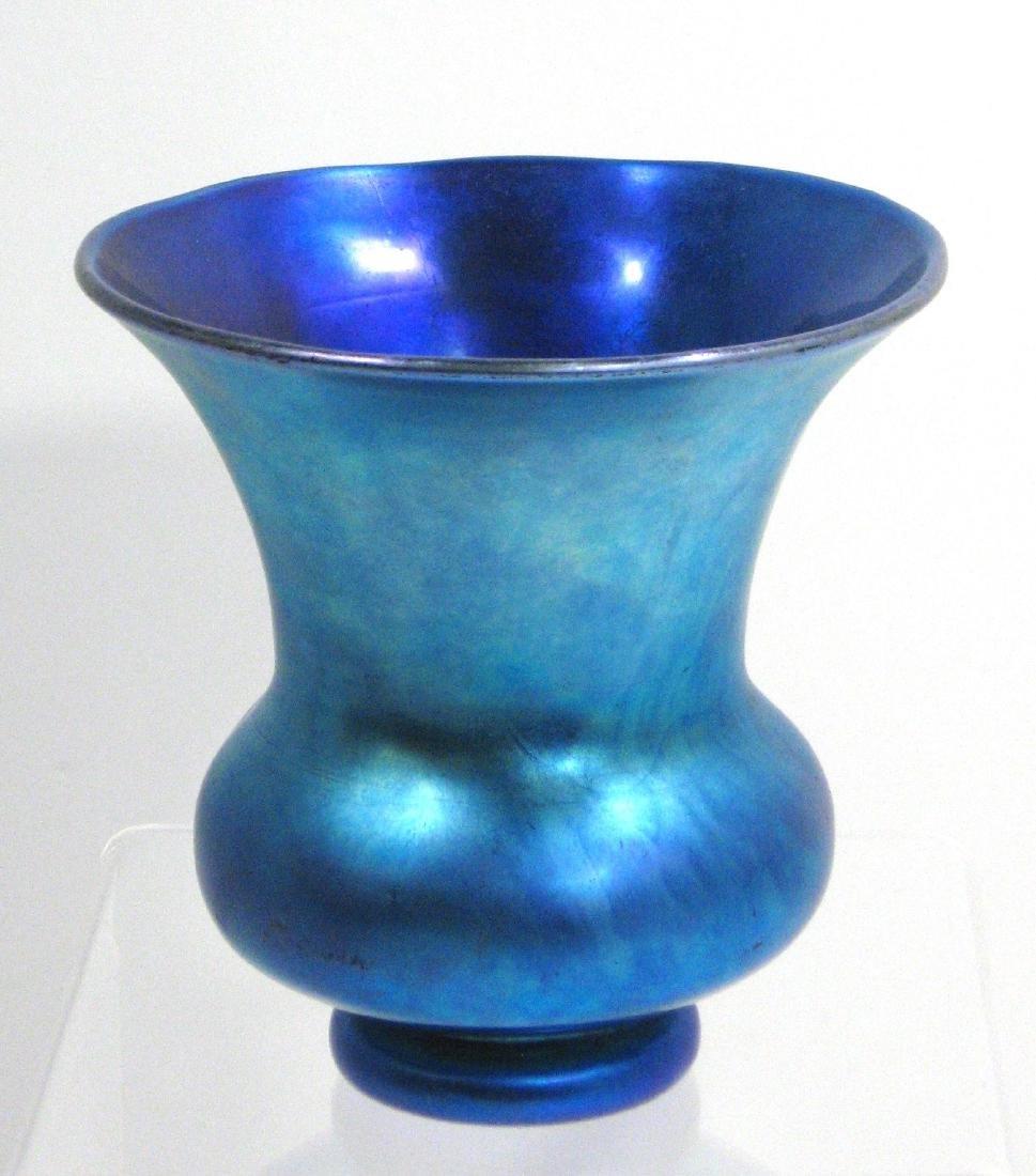 Steuben Blue Aurene glass vase,