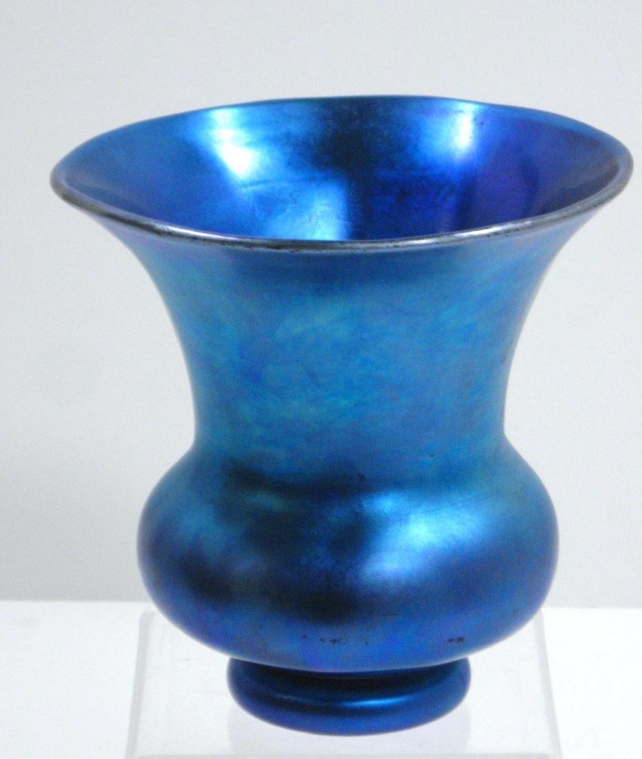 Steuben Blue Aurene glass vase, - 5