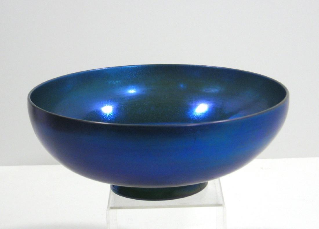Steuben blue Aurene bowl