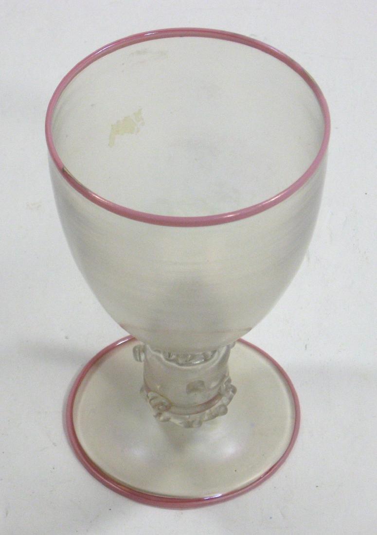 Steuben Verre de Soie and Coral goblet - 3