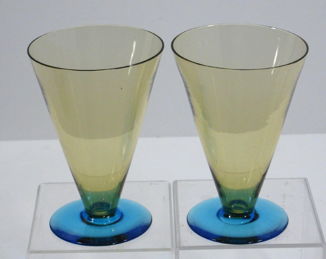Two Amber and Celeste blue goblets