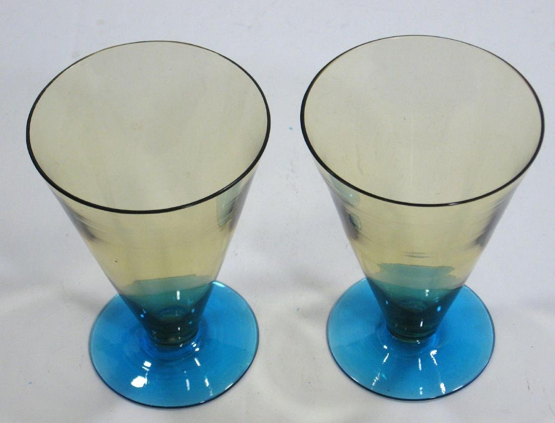 Two Amber and Celeste blue goblets - 2