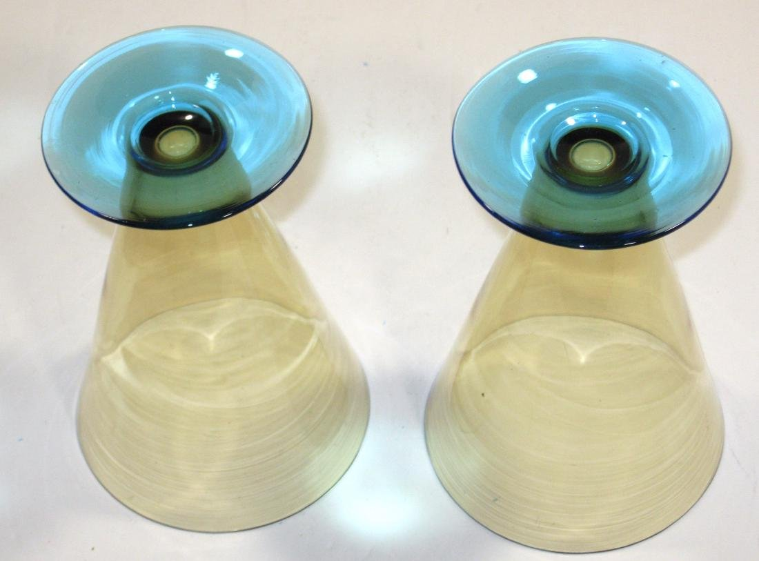 Two Amber and Celeste blue goblets - 3