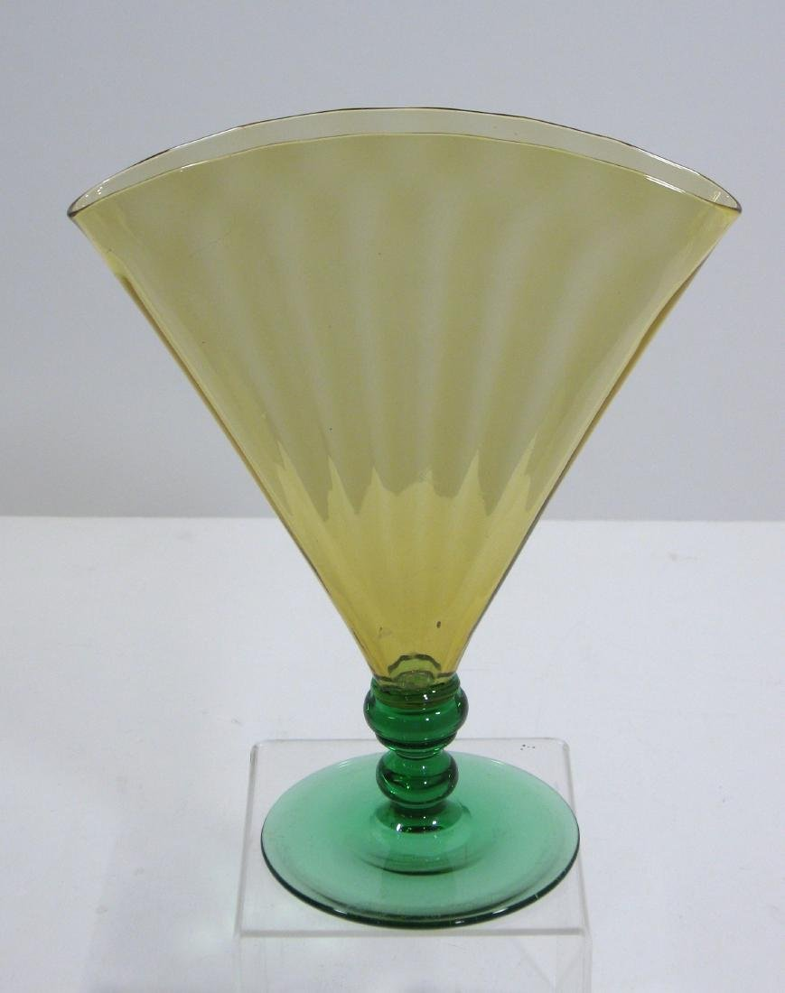 Steuben amber and green fan vase