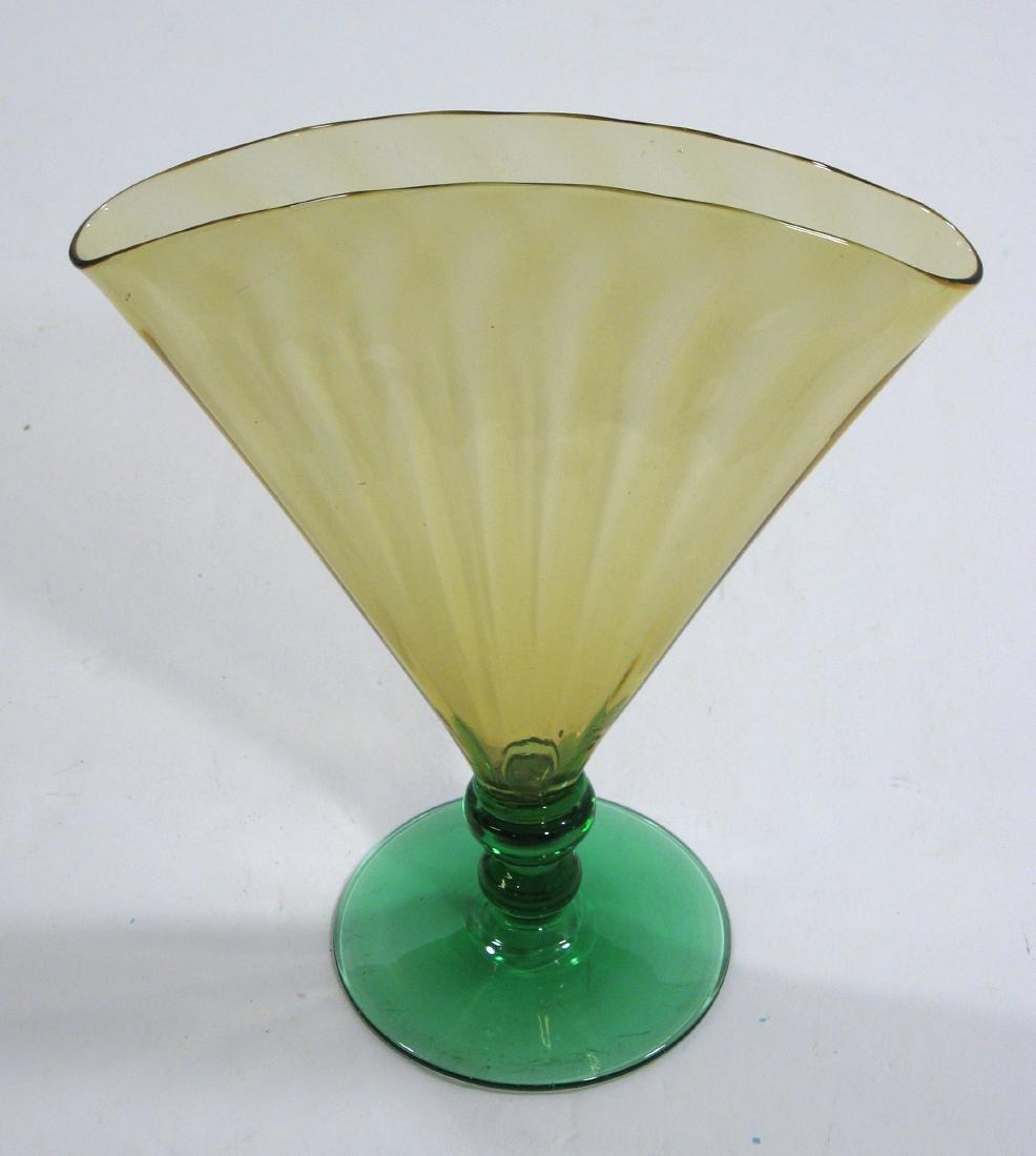 Steuben amber and green fan vase - 2