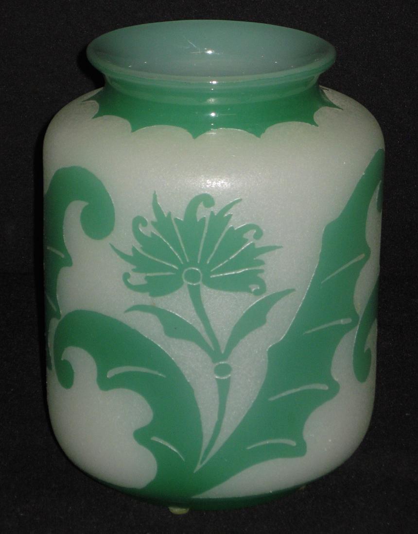 Steuben green Jade ACB glass vase,