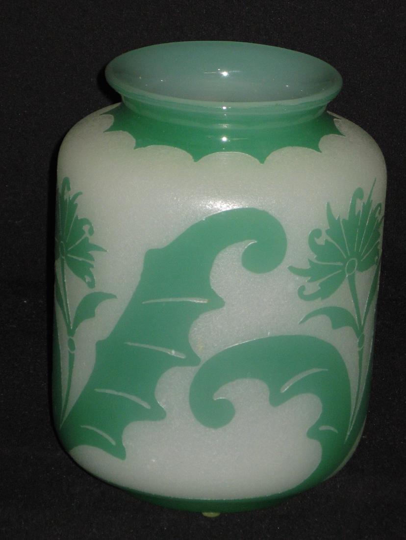 Steuben green Jade ACB glass vase, - 2