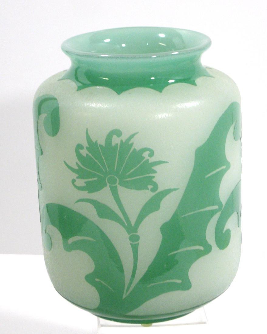 Steuben green Jade ACB glass vase, - 4