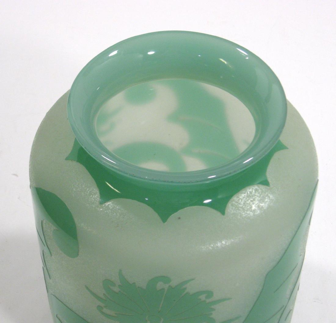 Steuben green Jade ACB glass vase, - 5