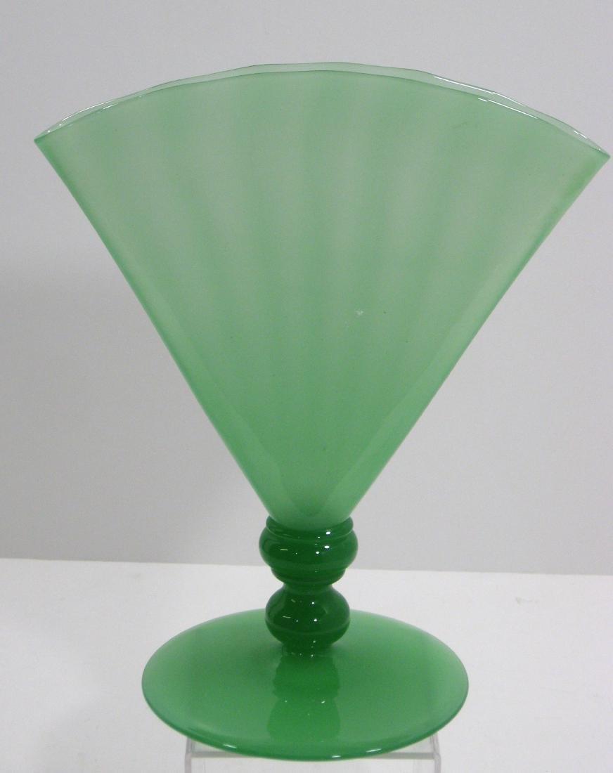 Steuben Green Jade fan vase,