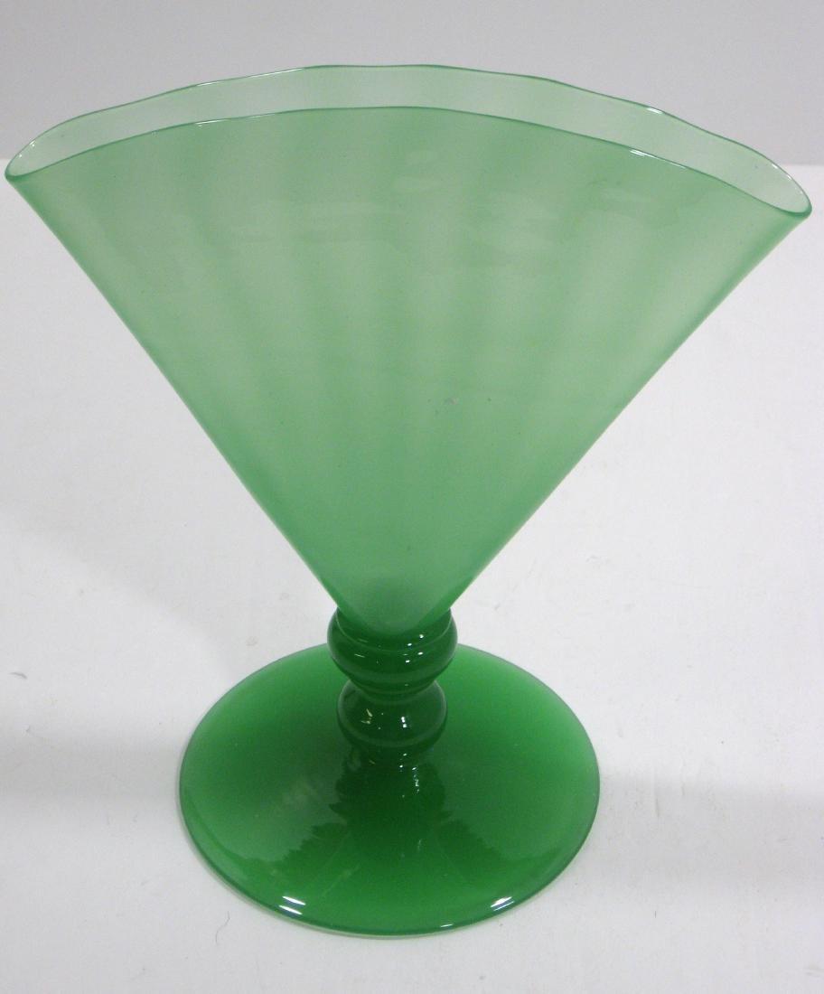 Steuben Green Jade fan vase, - 2
