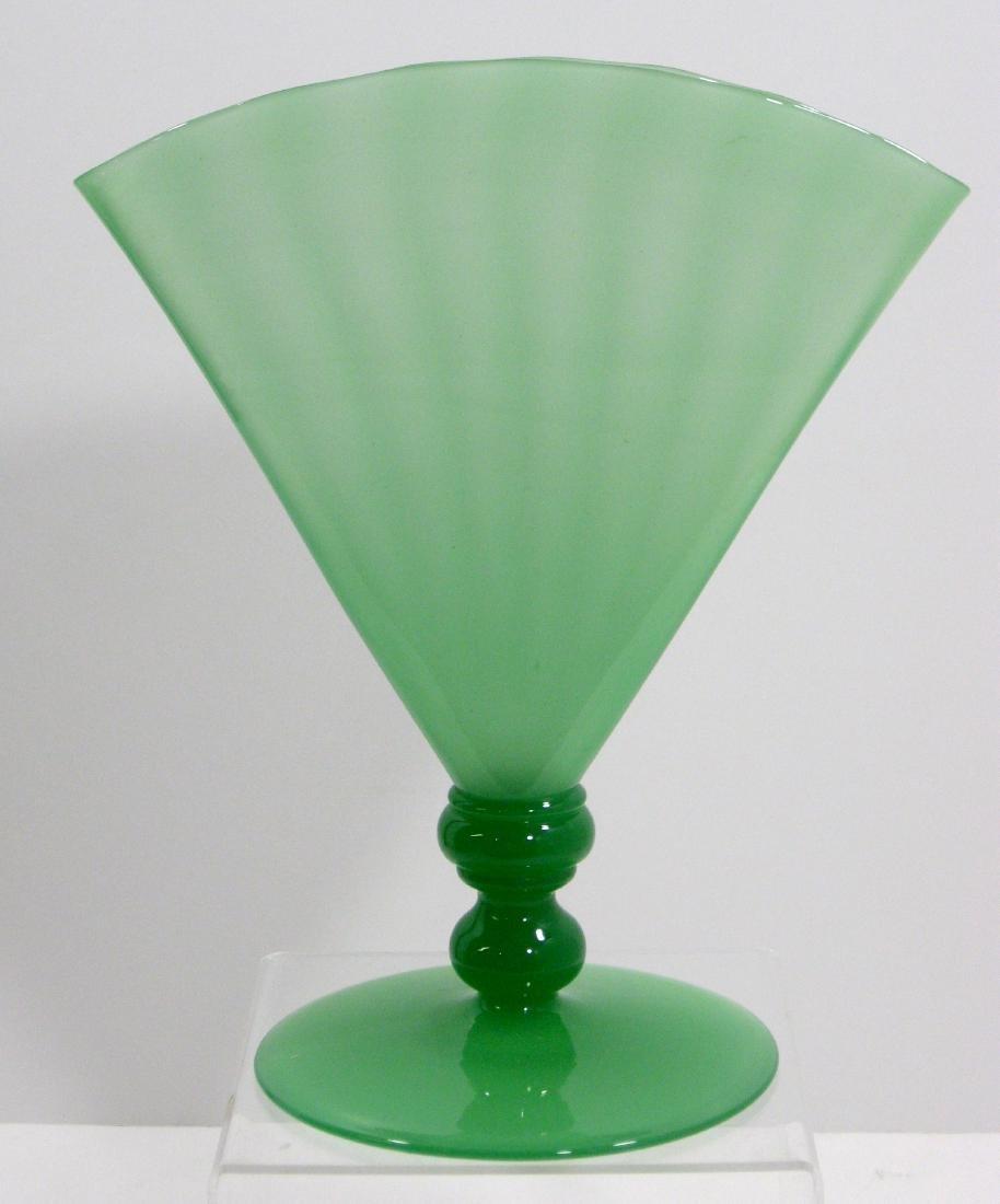 Steuben Green Jade fan vase, - 4